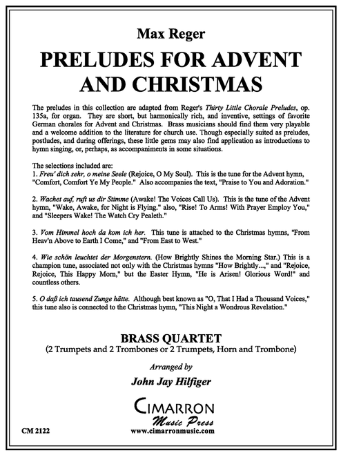 Preludes for Advent and Christmas Brass Quartet (Reger/arr. Hilfiger)