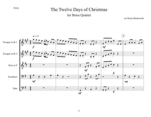 Twelve Days Of Christmas Sheet Music.Twelve Days Of Christmas Brass Quintet Trad Arr Blaskowski
