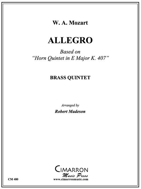 "Allegro Based on ""Horn Quintet in Eb Major, K407"" Brass Quintet (Mozart/ Madeson) PDF Download"