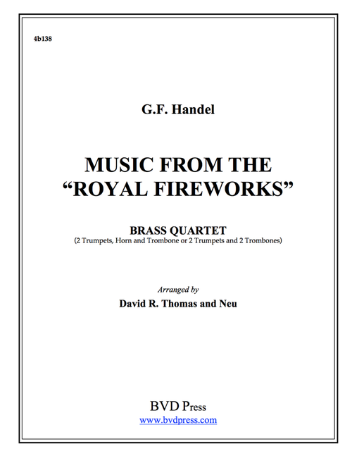 """Music from """"The Royal Fireworks"""" Brass Quartet (Handel/Neu and Thomas) PDF Download"""