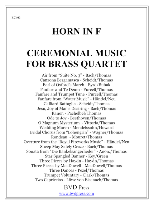 Ceremonial Music for Brass Quartet Horn PDF Download