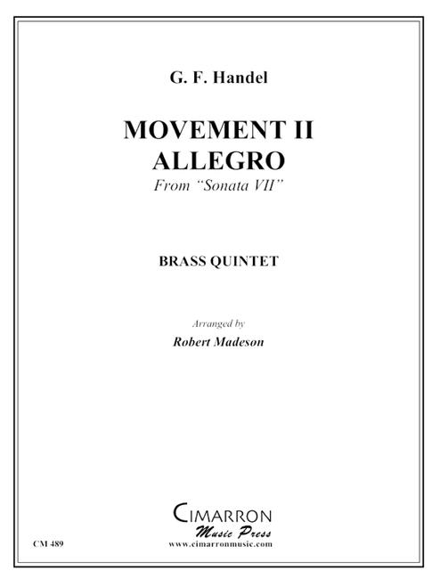 "Movement II, ""Allegro from Sonata VII"" Brass Quintet (Handel/Madeson) PDF Download"