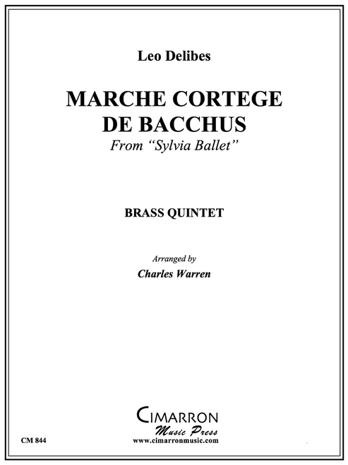 "-Marche Cortege De Bacchus from""Sylvia Ballet"" Brass Quintet (Delibes/ arr. Warren) PDF Download"