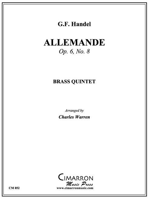 "Allemande from ""Grand Concerto No. VII"" Op. 6, No. 8 Brass Quintet (Handel/arr. Warren) PDF Download"