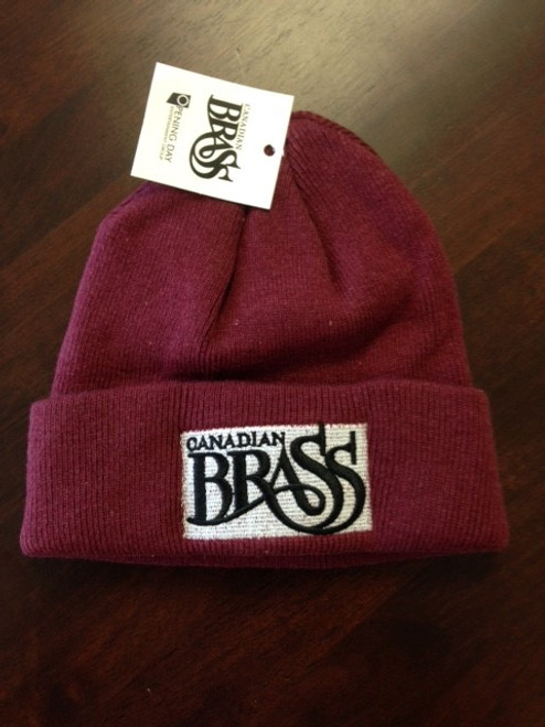 "Canadian Brass ""Red Wine"" Beanie Hat - Knit Toque Cuffed Cap"
