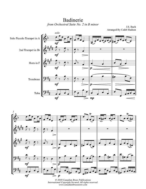 Badinerie from Orchestral Suite No  2 in B minor Brass Quintet (Bach/arr   Hudson) PDF download