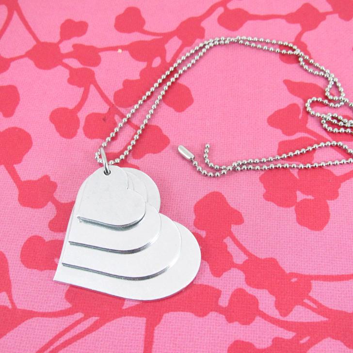 1.2mm Aluminium Heart Stacker Necklace Set