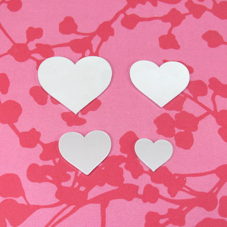 Aluminium Heart Shaped Laser Cut Stamping Blanks in 1.2mm thickness in sizes 16mm, 22mm, 28mm, 34mm,