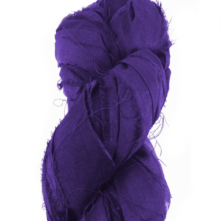 Purple Plum Tone Sari Silk, made from recycled fair trade silk. Great for bracelet making, weaving and jewellery making. Sold per 3 Meter Lengths
