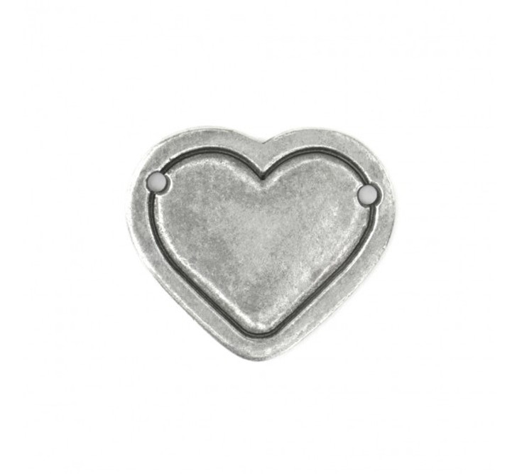 IMPRESSART -  Pewter Heart Stamping Blank Border Connector - Large