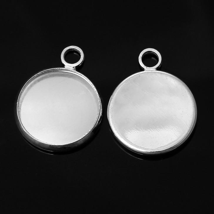 Silver Tone Cabochon Settings fits 12mm 5pk