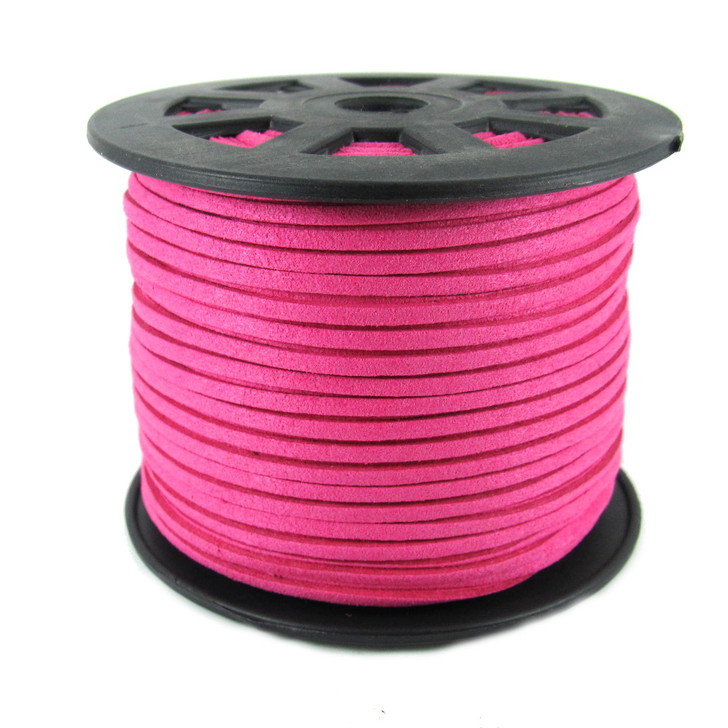 Faux Suede Cord 3x1.5mm - Bright Pink