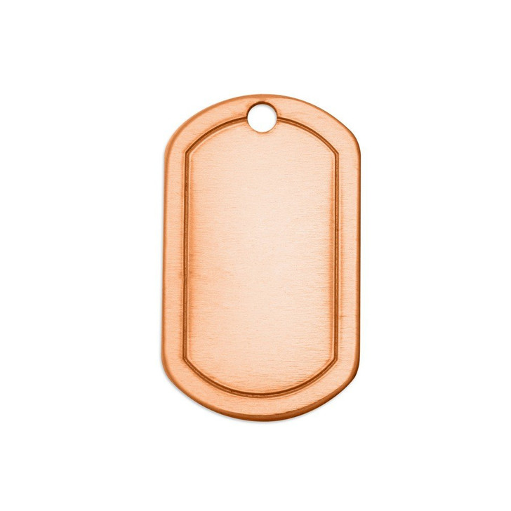 ImpressArt Copper Rectangle Dog Tag Border Blank with Hole, 34mm - 5 pk