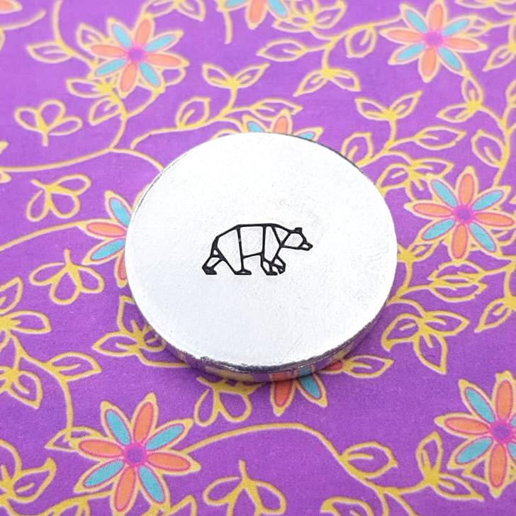 Bear Origami Metal Design Stamp - 10mm