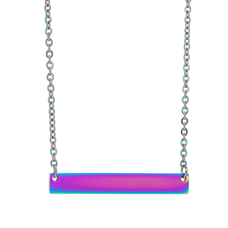 "Stainless Steel Rainbow Bar Necklace 40x6mm with 18""Chain"