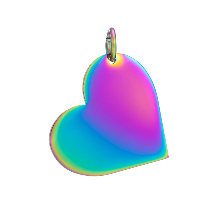 Heart Rainbow STainless Stamping Blank With Jump Ring - Select Size