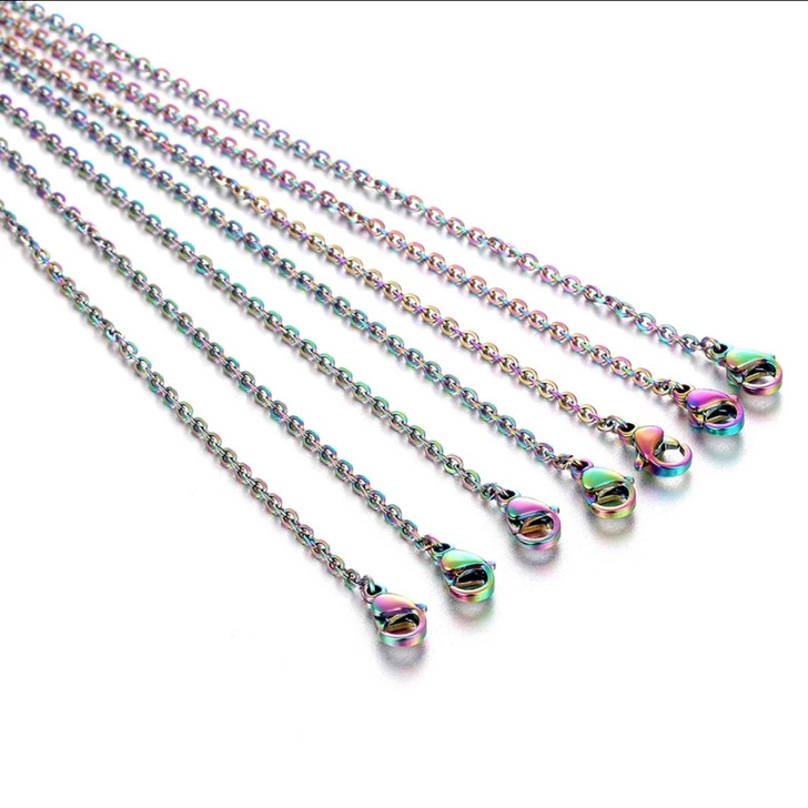 """Rainbow Stainless Steel Necklace 18"""""""
