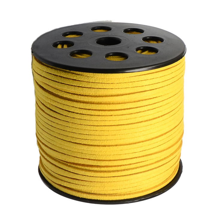 Bright Yellow Faux Suede Cord 3x1.5mm - 1Mtr