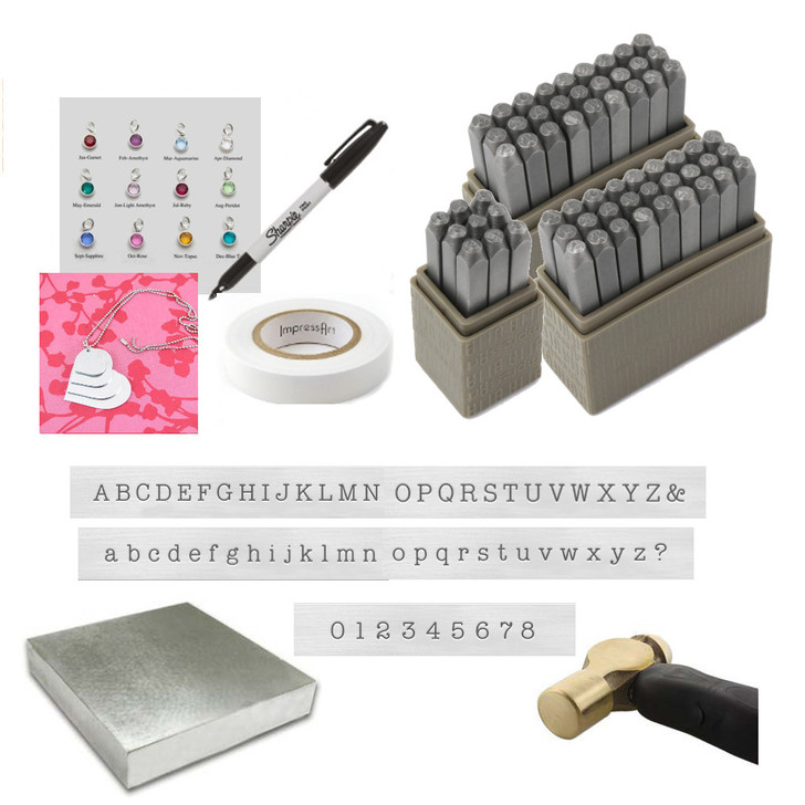"""Typewriter Stamping Kit complete with 3mm uppercase, lowercase and Numbers. Comes with 1lb Brass Hammer, 4"""" Steel bench block, Stamp Straight tape, Black Sharpie, Channel Charms and stacker necklace set. Comes with Free practice Grade B blanks."""
