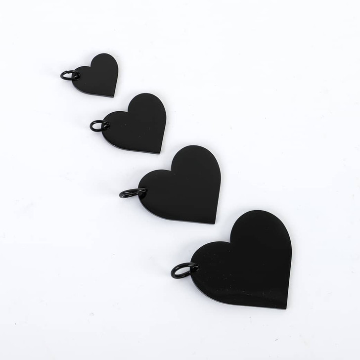 Black Heart Stamping Blank With Jump Ring - Select Size