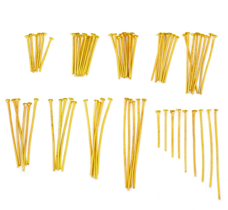 Pack of 900 Sorted Bright Gold Plated Head Pins Mixed Sizes 16mm-40mm 0.7mm(21 gauge),