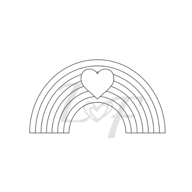 Rainbow Heart Metal Design Stamp - 15mm