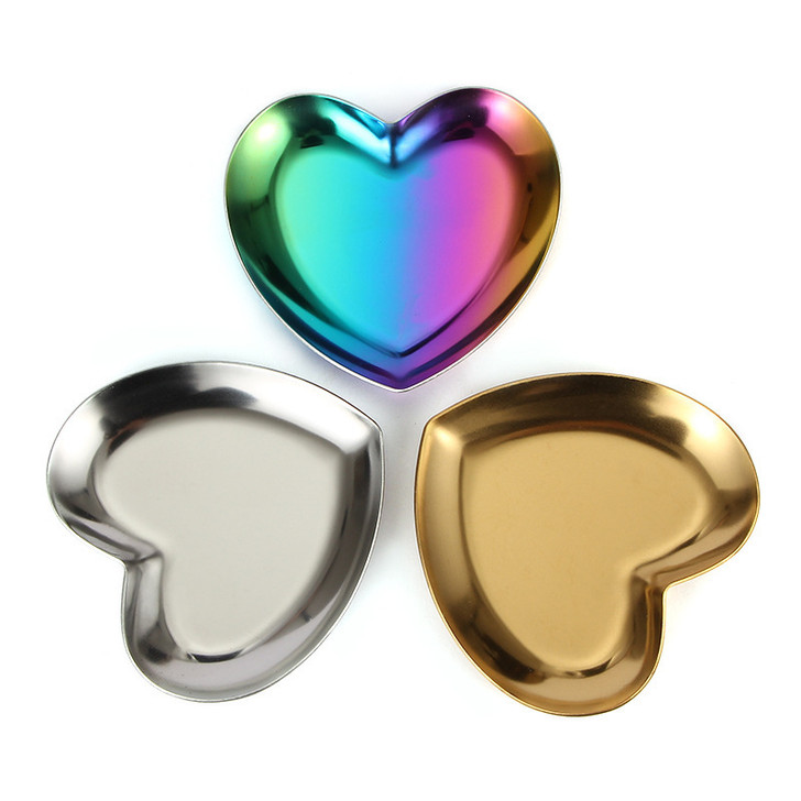 Heart Ring Dish Stainless Steel Ion Plated Ring Dish - Select Colour