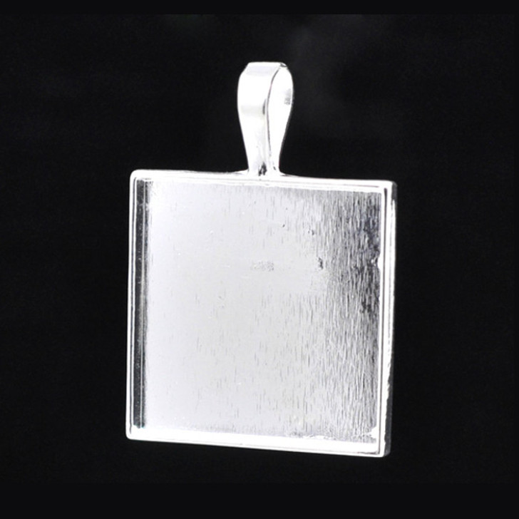 Silver Plated Square Cameo Cabochon Setting - Fit 25mm