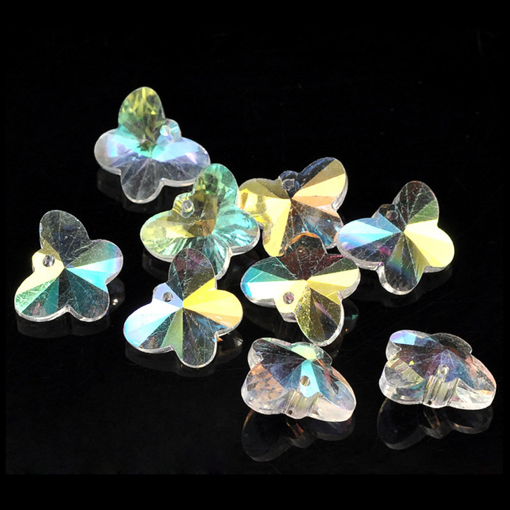 Butterfly Clear AB Crystal Glass Faceted Bead Charms