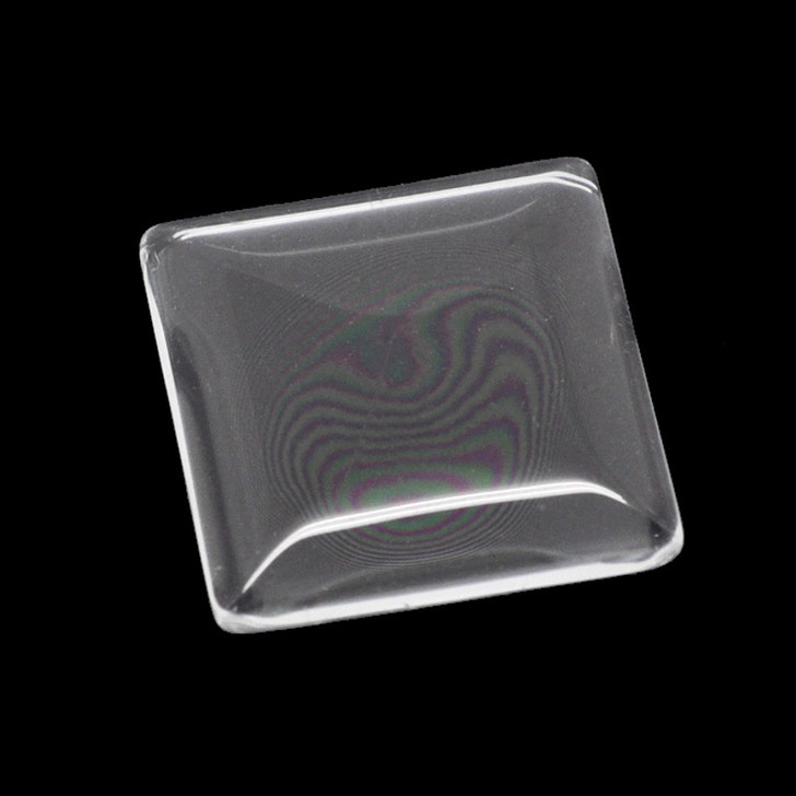 25mm Square Clear Glass Cabochon Dome