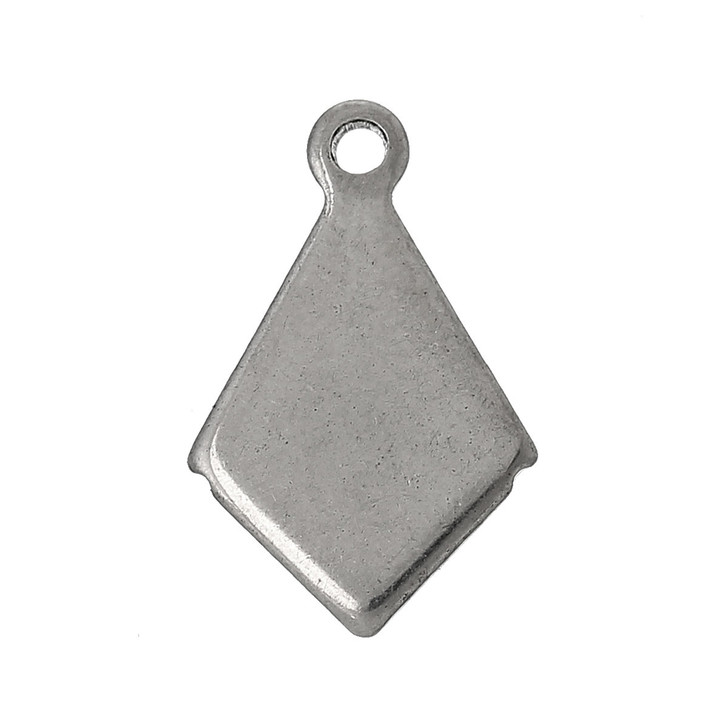 Pack of 10 Stainless Steel Diamond Blank Stamping Pendants Silver Tone 13x9mm