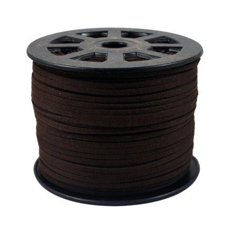 Faux Suede Cord 3x1.5mm - Dark Brown