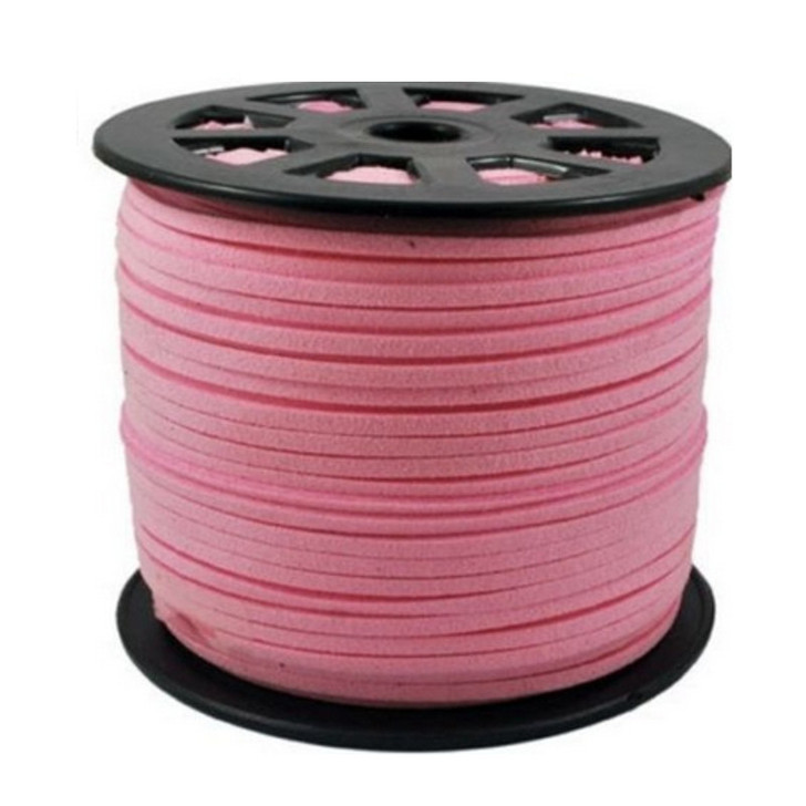Faux Leather Suede Cord 3x1.5mm - Baby Pink