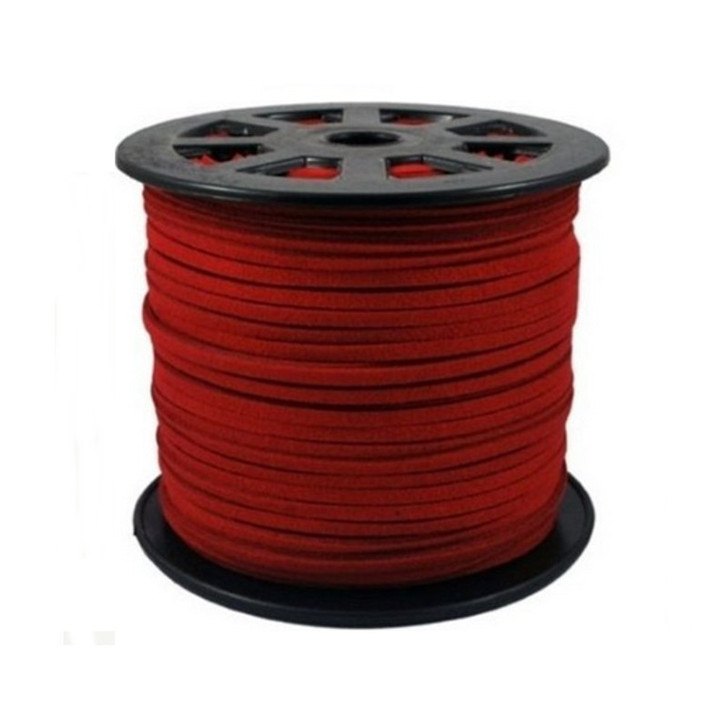 Red Faux Suede Cord 3x1.5mm - 1 Mtr