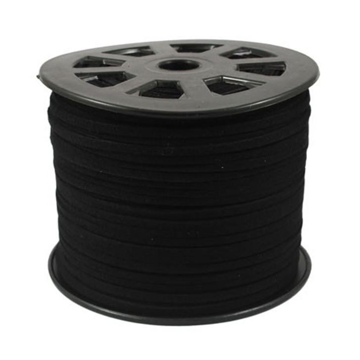 Black Faux Suede Cord 3x1.5mm - 1 Mtr