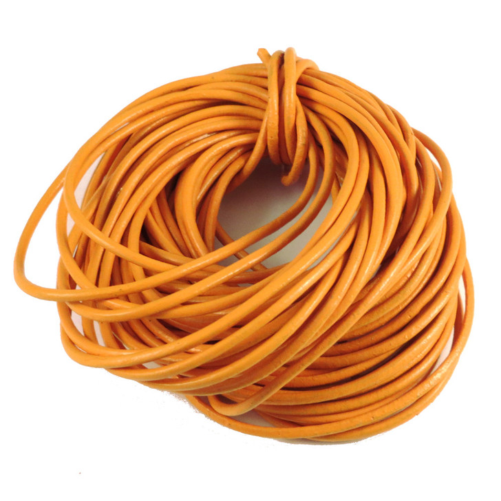 Mustard Round Real Leather Jewellery Cord 2mm