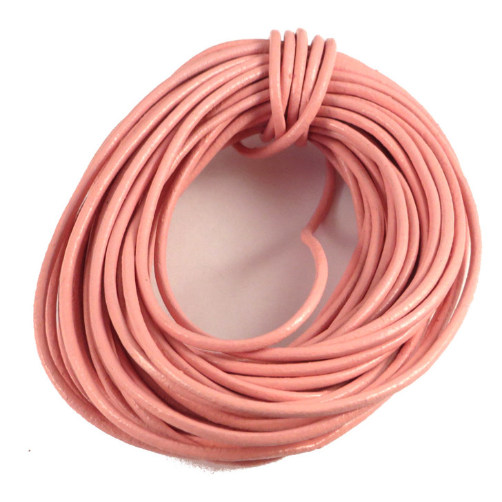 Baby Pink Round Real Leather Jewellery Cord 2mm