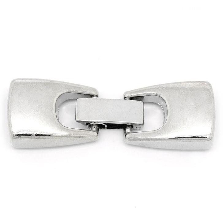 Silver Metal End Clasp 4x1.3cm fits 10x2mm Flat cord