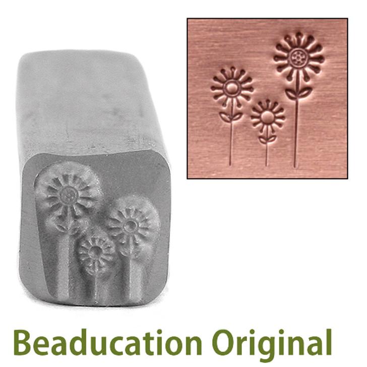 3 Flowers Design Stamp 6.5x8mm