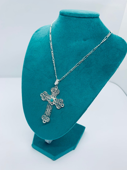 Silver cross pendant with the chain b