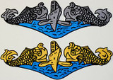"""Dolphin Patch, 12"""" x 4"""" embroidered & die cut for sewing on Jackets etc."""