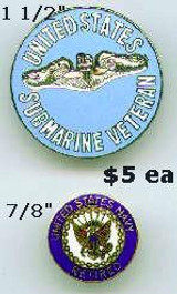 Submarine Veteran Pins