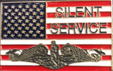 """Flag Lapel or Hat pin,  Silent Service with dolphins 1.625 x 1"""""""