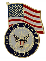 LAPEL PIN, USN + FLAG