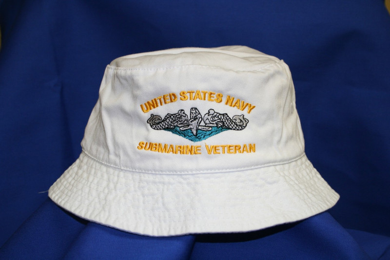 White Bucket hat,  United States Navy Submarine Veteran design custom embroidery available