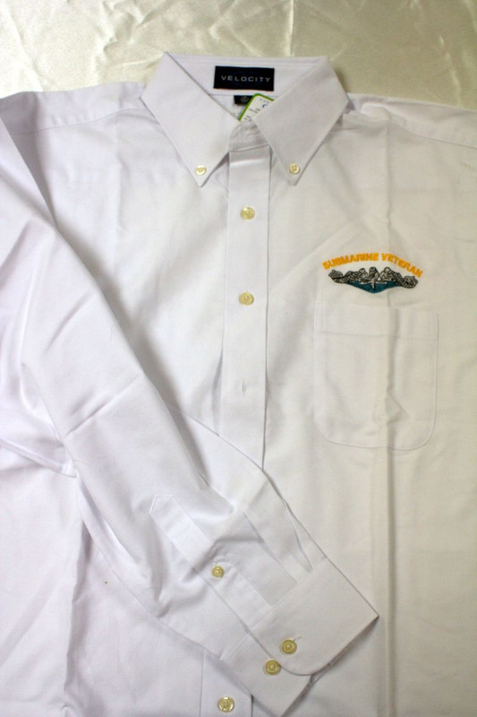 White Long Sleeve Dress Shirt, Submarine Veteran with dolphins