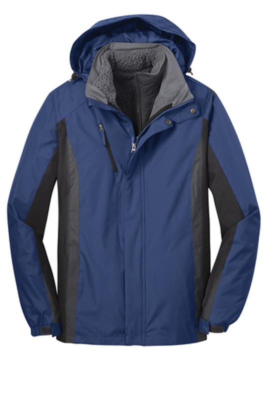 Heavy Coat, 3 in 1, zip off hood, quilted zip in liner jacket water resistant, navy