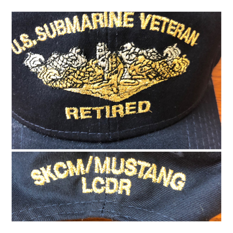 MUSTANG BALL CAP WITH GOLD AND SILVER METALLIC DOLPHINS.  Shown with additional back embroidery