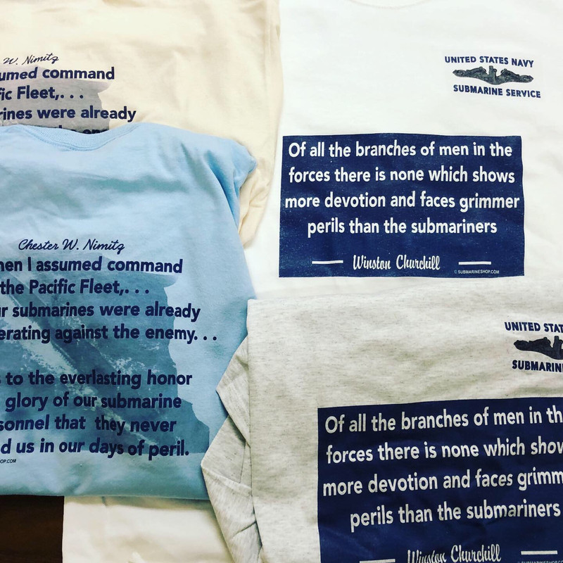 T-shirt, Churchill and Nimitz quotes. Available on tan, light blue, white, and ash gray T-shirts.