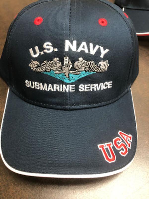 USA BALL CAP U.S. NAVY SUBMARINE SERVICE SILVER DOLPHINS